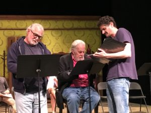 ANW Resident Artists Mitchell Edmonds, William Dennis Hunt, and Jeremy Rabb rehearse for a Words Within reading.