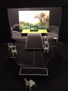 Work model for Six Characters in Search of an Author. Scenic design by Frederica Nascimento.