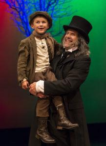Damaso Rodriguez (Tiny Tim) and Geoff Elliott (Scrooge) in ANW's A Christmas Carol 2012.