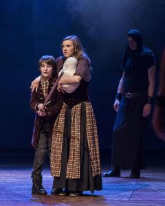 Theo Taplitz (Macduff's Son) and Katie Pelensky (Lady Macduff) in ANW's production of Macbeth. Photo by Craig Schwartz.